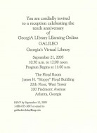 Invitation for the GALILEO 10th Birthday Celebration