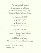 Invitation to GALILEO Fifth Anniversary Reception