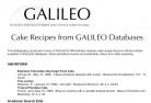 Cake Recipes from GALILEO Databases