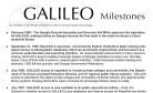 GALILEO Milestones 2000